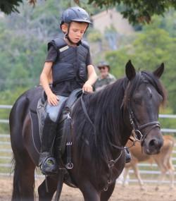 Cheval Corse monté par un petit garçon